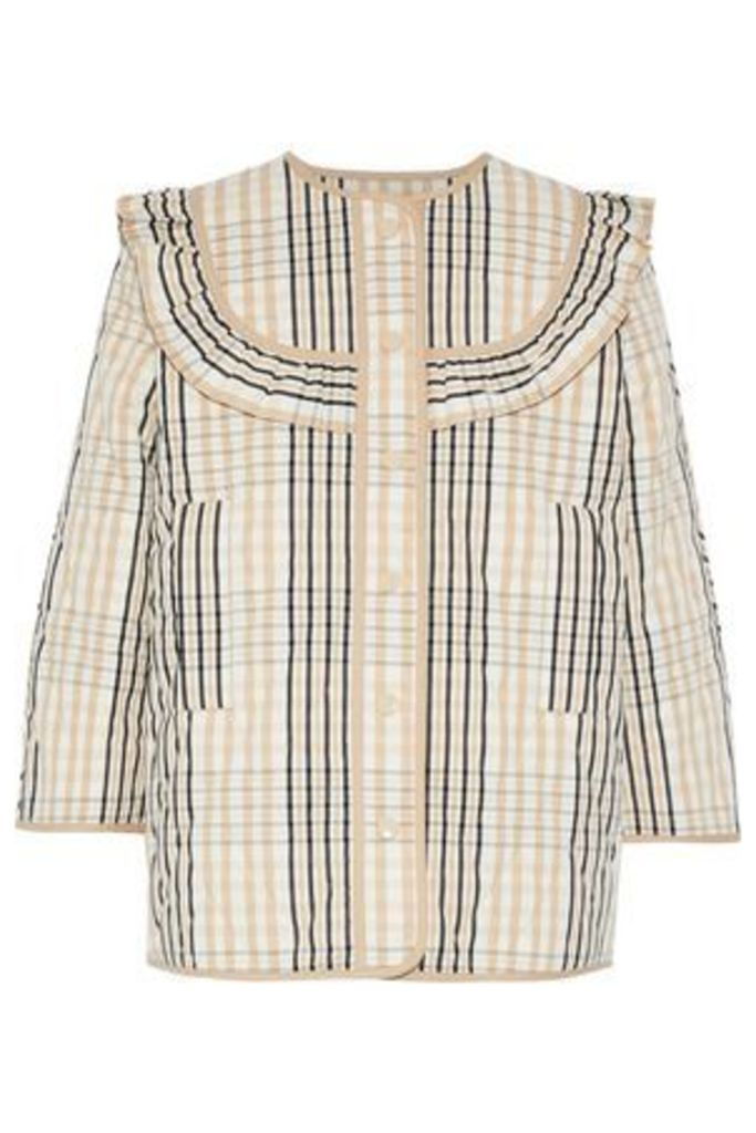 Ganni Woman Ruffle-trimmed Quilted Checked Cotton-twill Jacket Sand Size 42