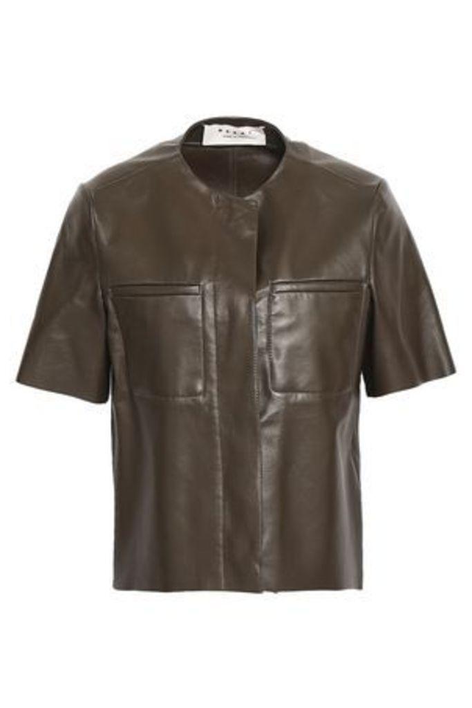 Marni Woman Leather Jacket Army Green Size 40