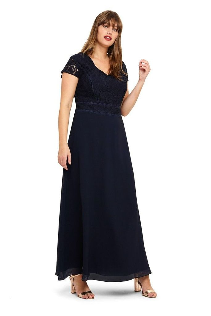 Womens Studio 8 Blue Gemma Lace Maxi Dress -  Blue