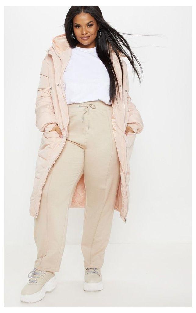 Plus Nude Longline Puffer Coat, Pink
