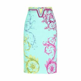 Versace Collection Bright Blue Baroque-print Pencil Skirt