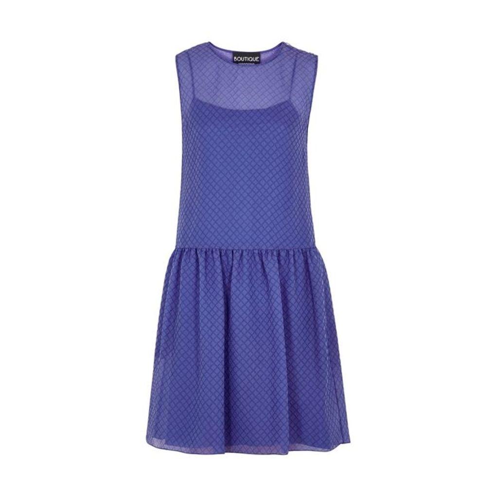 Boutique Moschino Blue Diamond-jacquard Silk-blend Dress