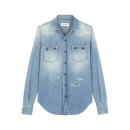 Saint Laurent Blue Distressed Denim Shirt