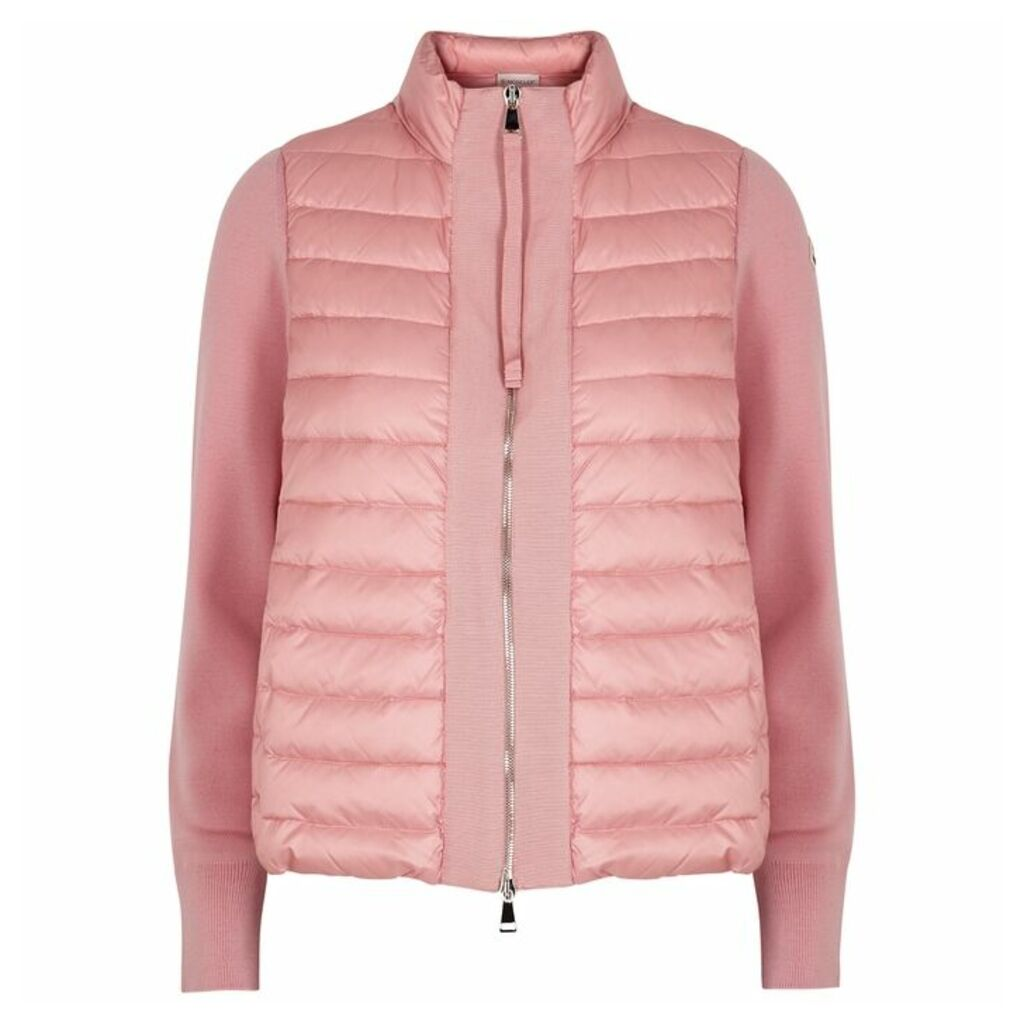 Moncler Maglia Pink Wool And Shell Jacket