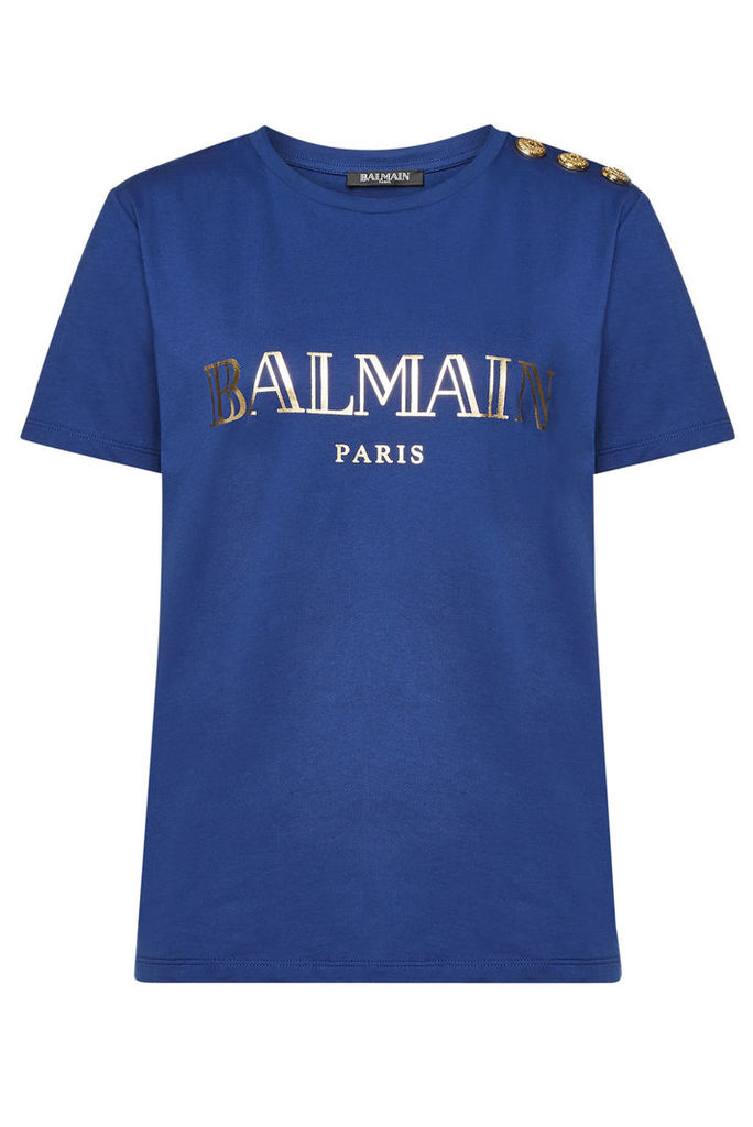 Balmain Printed Cotton T-Shirt with Embossed Buttons