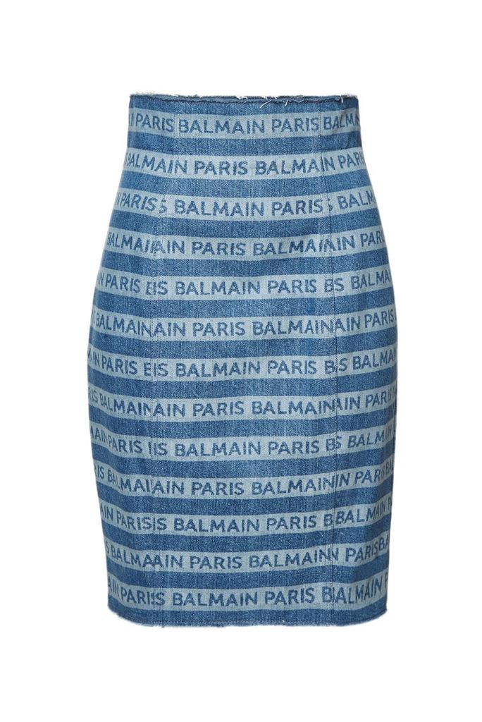 Balmain High Waist Denim Skirt