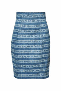 Balmain High Waist Denim Skirt