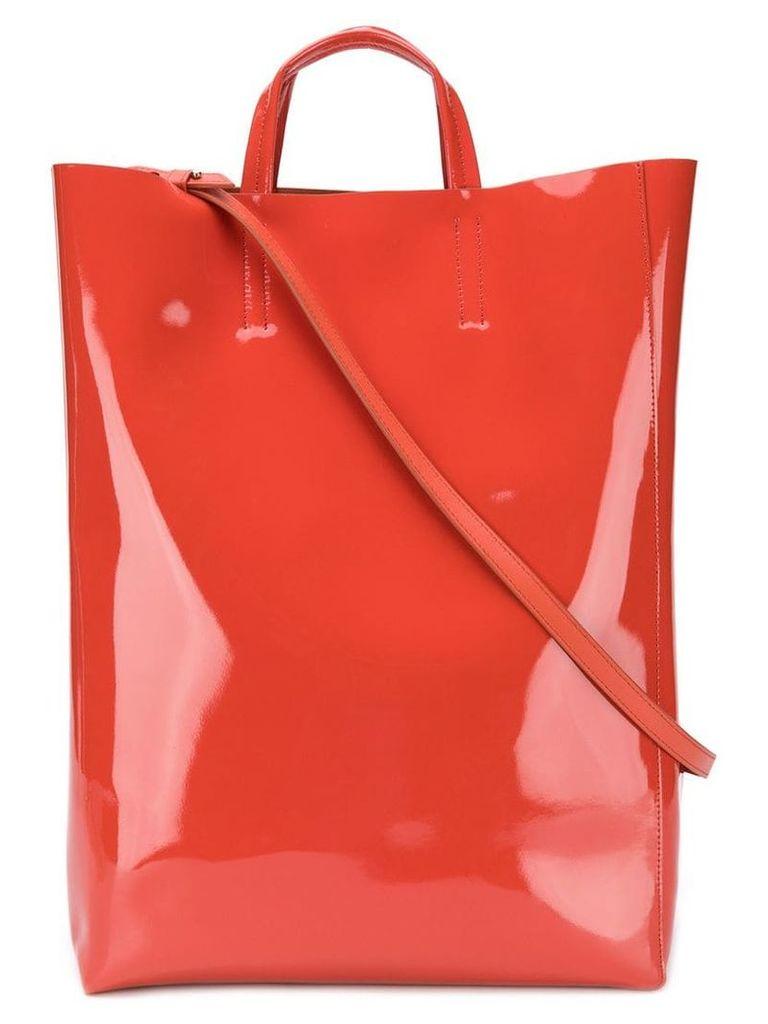 Acne Studios Baker patent large shopper tote bag - Orange