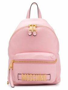 Moschino logo plaque backpack - Pink