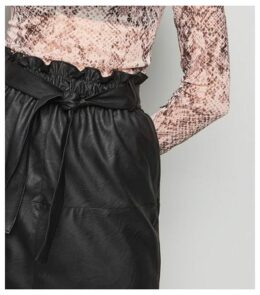 Tokyo Doll Black Leather-Look Lace Trim Skirt New Look
