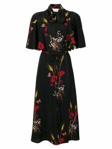 Valentino floral shawl tied dress - Black