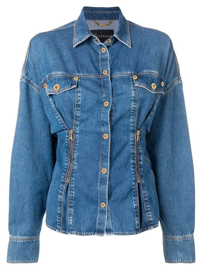 Versace cinched denim shirt - Blue
