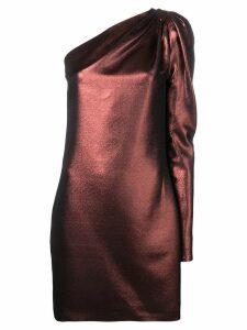 Victoria Victoria Beckham metallic one-shoulder dress - Brown