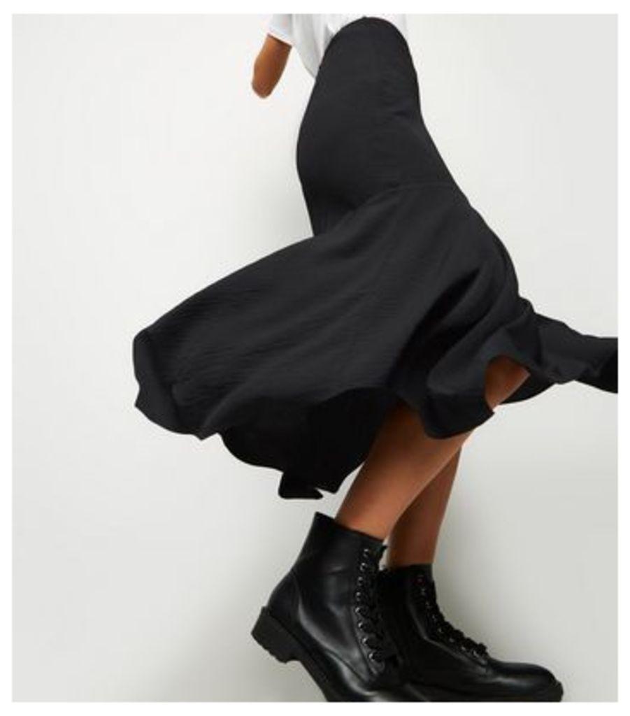Black Satin Hanky Hem Midi Skirt New Look