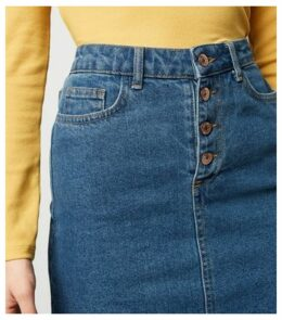 Petite Blue Button Front Denim Skirt New Look