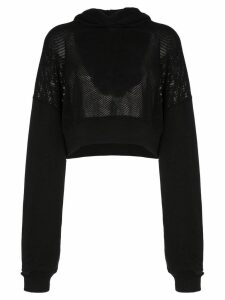 Amiri cropped mesh hooded jumper - Black