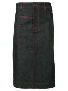 Joseph overstitched denim midi skirt - Blue