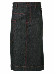 Joseph overstitched denim midi skirt - Blue