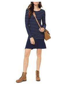 Michael Michael Kors Striped Long-Sleeve Dress
