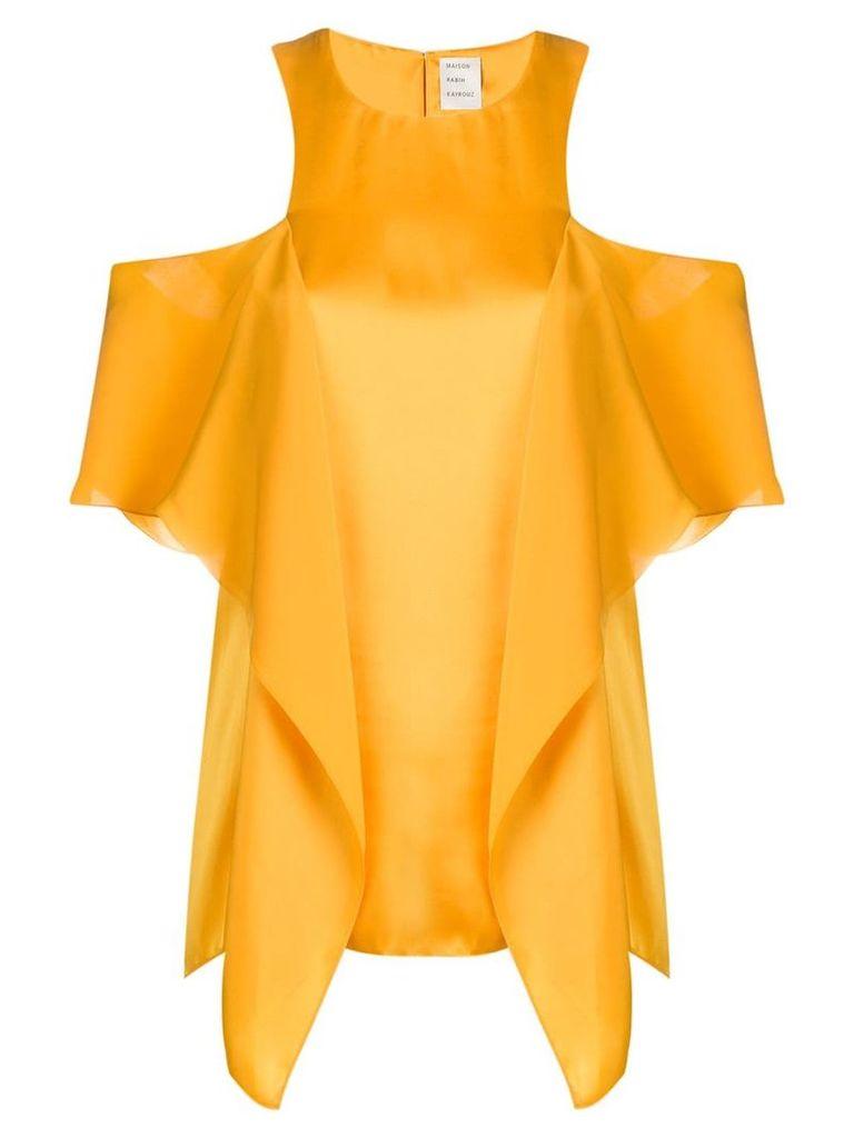 Maison Rabih Kayrouz ruffle cold-shoulder blouse - Yellow