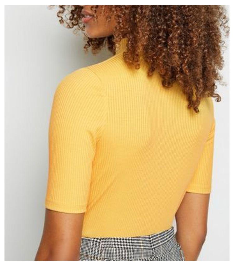 Mustard Ribbed Turtleneck Top New Look