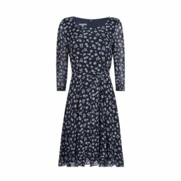 Navy Climbing Floral Ditsy Fit and Flare Dress
