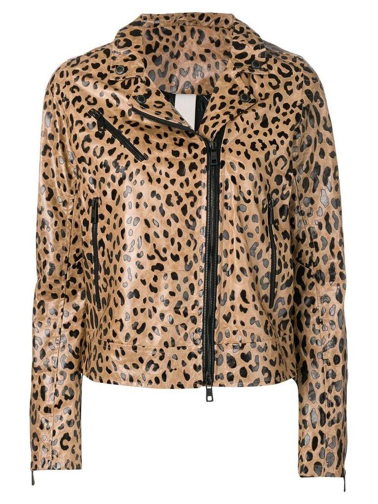 Giorgio Brato leopard biker jacket - Brown