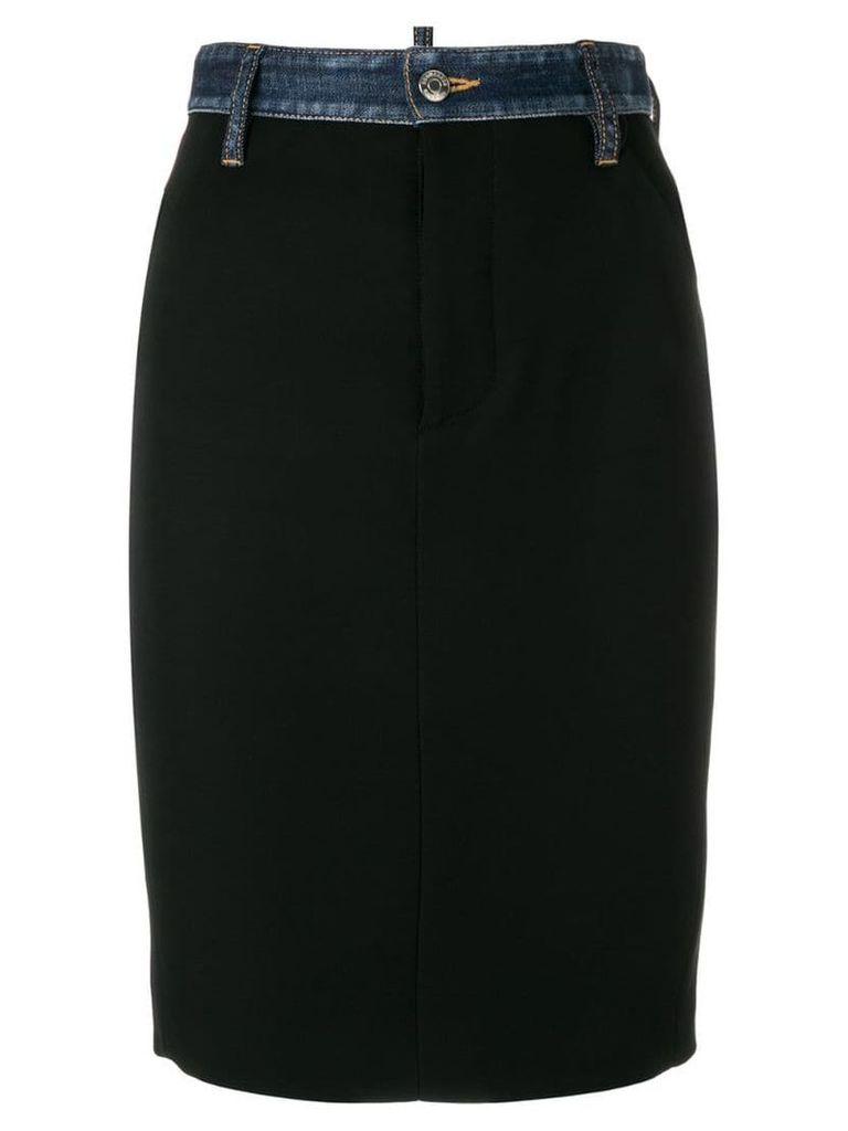 Dsquared2 denim trim pencil skirt - Black