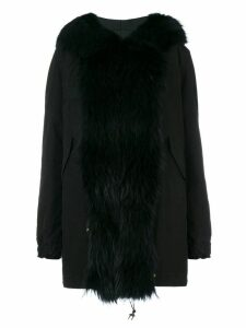 Mr & Mrs Italy trimmed hood mid parka - Black