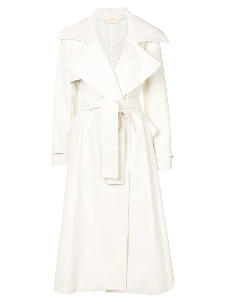 Sara Battaglia belted trench coat - Neutrals