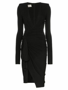 Alexandre Vauthier deep V gathered waist padded shoulder midi dress -