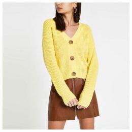 Womens Yellow V neck diamante button cardigan