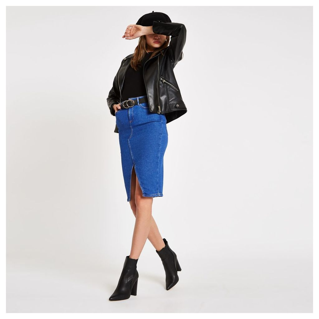 Womens Bright Blue denim pencil skirt