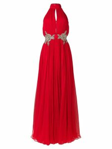 Alexander McQueen crystal embellished waist gown - Red