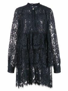 Adam Lippes lace ruffled dress - Blue