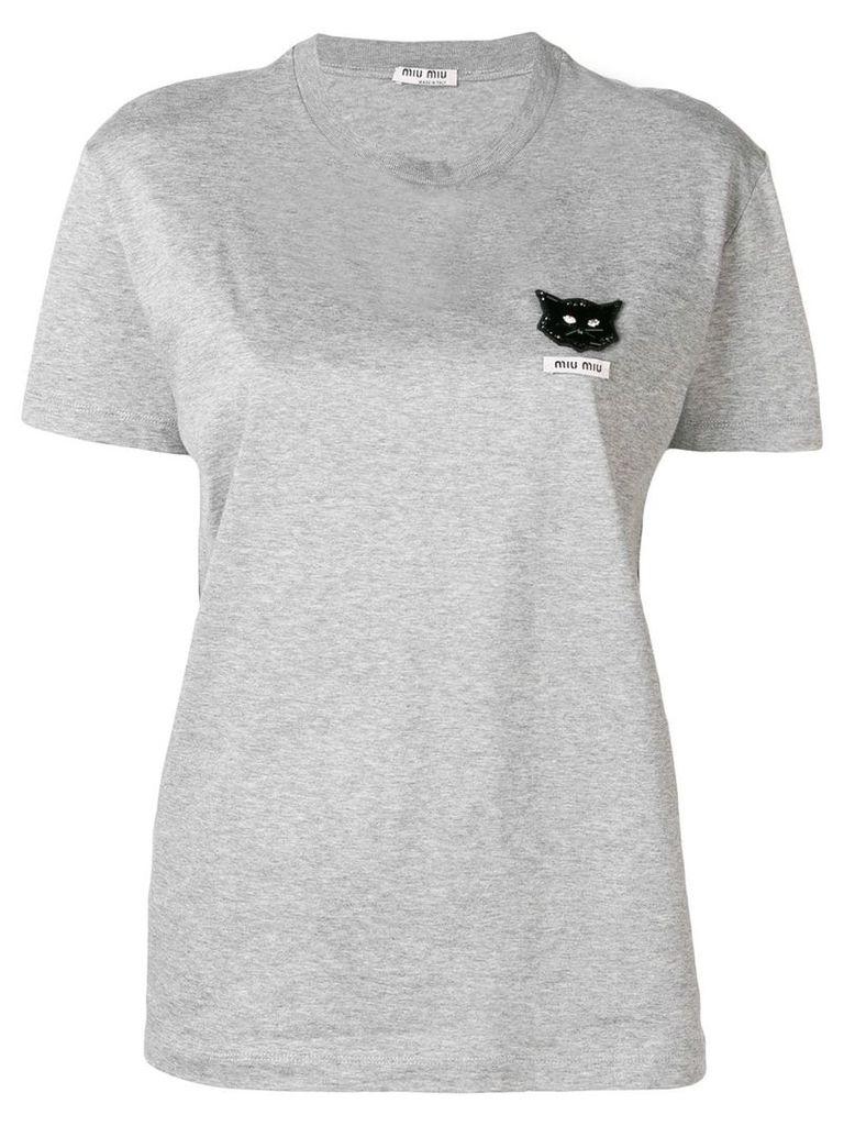 Miu Miu cat embellished T-shirt - Grey