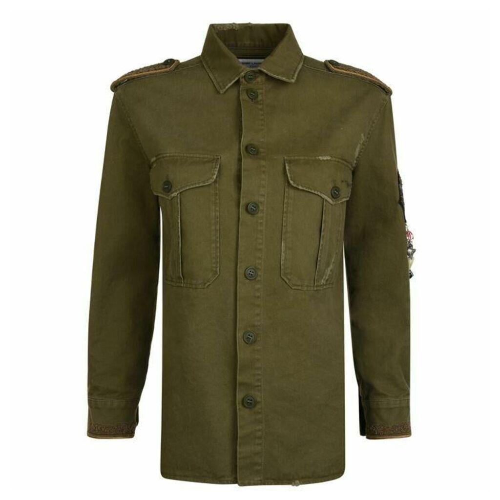 SAINT LAURENT Gabardine Military Overshirt