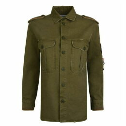 SAINT LAURENT Gabardine Military Overshirt