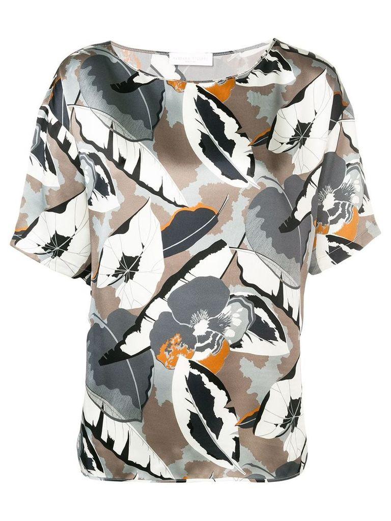 Fabiana Filippi floral short sleeve blouse - Grey