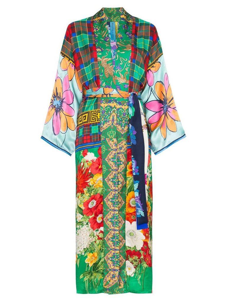 Rianna + Nina long multi floral check print silk kimono robe -