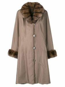 Liska fur collar coat - Brown