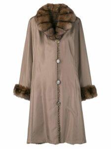 Liska fur collar coat - Brown
