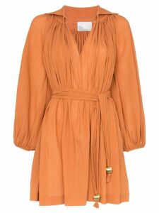 Lisa Marie Fernandez Poet tassel belted cotton mini dress - Orange