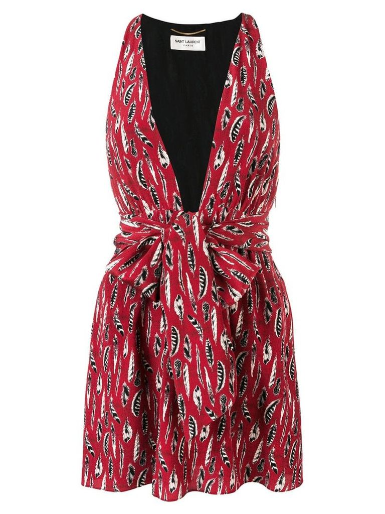 Saint Laurent feather print mini dress - Red