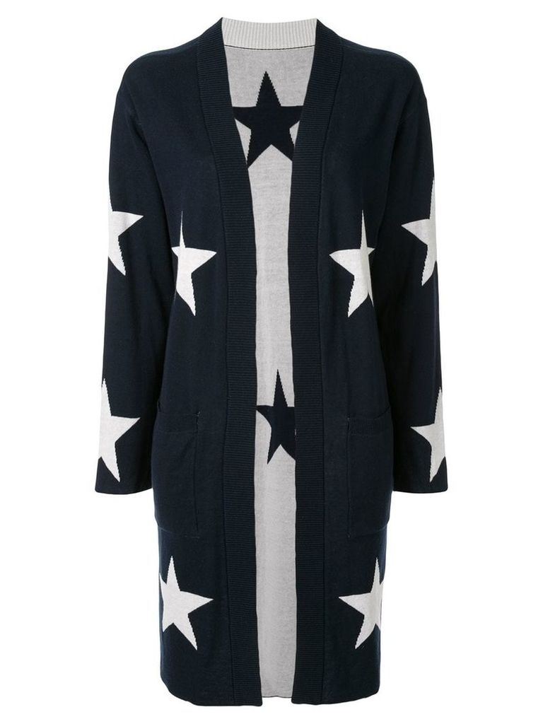 Guild Prime star intarsia knit cardi-coat - Blue