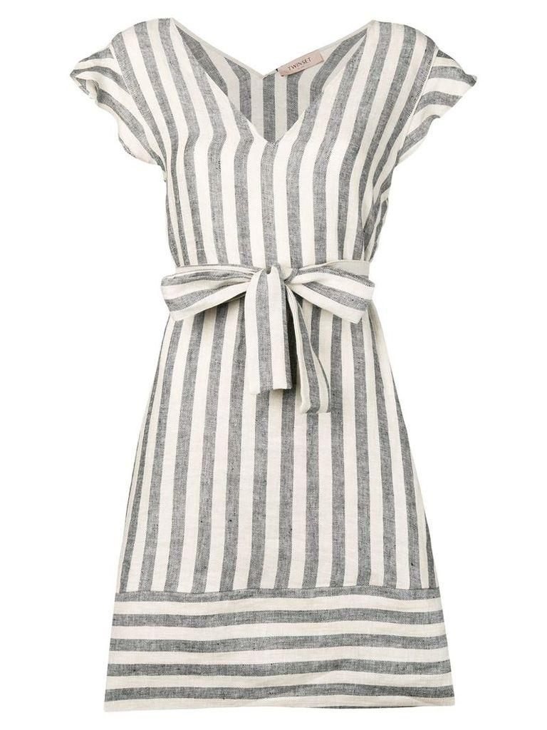 Twin-Set striped mini dress - Black