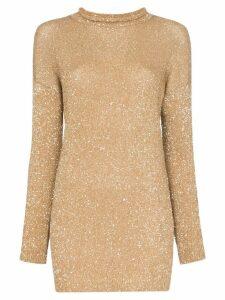 Saint Laurent glitter embellished mini jumper dress - Gold