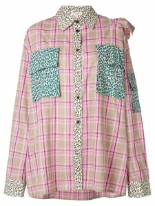 Natasha Zinko ruffle detail check shirt - Pink