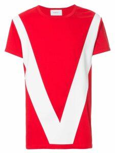 Ports V colour-block T-shirt - Red