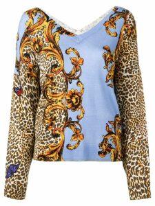 Liu Jo printed fine knit sweater - Blue